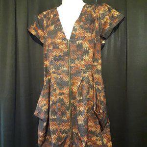 City Chic Pleated Zip Front Tunic Dress sz XL
